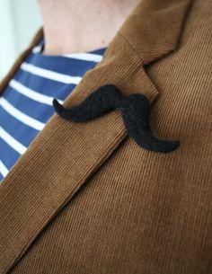 Mustache Pin Geltleman / Unisex Felt by HappyFeltx on Etsy