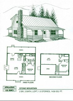 Cabin Floor Plans   Loft   hideaway log home and log cabin    cabin home plans   loft   Log Home Floor Plans   Log Cabin Kits   Appalachian