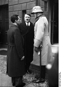 Joseph Goebbels, Adolf Hitler, and Gen Werner von Blomberg, Minister of Defense…
