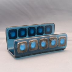 Steel Squares - Fused Glass Business Card Holder