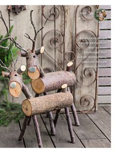 Christmas Deer Decorations, Christmas Wood Crafts, Rustic Christmas, Christmas Art, Christmas Projects, Holiday Crafts, Christmas Ornaments, Wood Log Crafts, Wood Reindeer