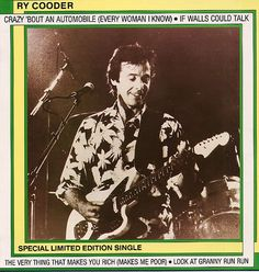 """For Sale - Ry Cooder Crazy 'Bout An Automobile UK  12"""" vinyl single (12 inch record / Maxi-single) - See this and 250,000 other rare & vintage vinyl records, singles, LPs & CDs at http://eil.com"""