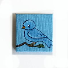 Blue Bird Painting Miniature  Original Tiny Wall Art by Karen Watkins kmwatkins on Etsy Save 10% on anything in my Etsy with coupon code PIN10