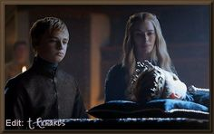 S4-E3: Cersei & Tommen (Joffrey's brother) with Joffrey's body