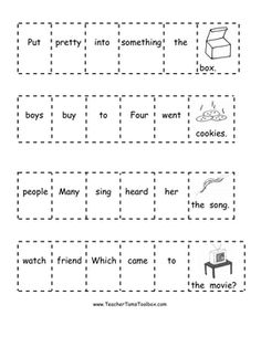 These First Grade Sight Word Practice Cut-and-Glue Sentences by Teacher Tam provide sight word practice for students, as well as the opportunity to. Sight Word Sentences, Sight Word Worksheets, Word Bingo, First Grade Sight Words, Sight Word Practice, Kindergarten Writing, Literacy, Guided Reading, Reading Homework