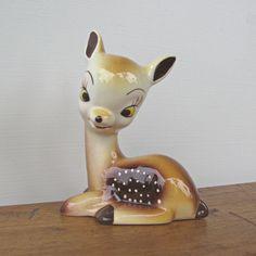 Vintage Fawn Deer Figurine Ceramica.