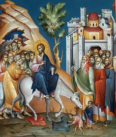 Entry Into Jerusalem - Nowadays commemoration of Palm Sunday Picture Icon, Byzantine Art, Painting, Orthodox Christian Icons, Illustration Art, Art, Catholic Art, Christian Art, Sacred Art