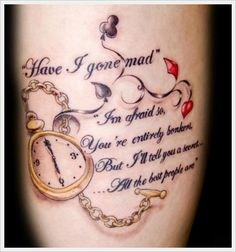 Alice in Wonderland tattoo <3 Literature and art makes my heart leap!