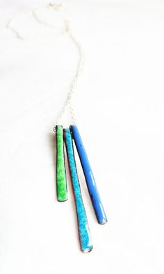 Three Strand Enamel Pendant Enamel on Copper Necklace by MaisyPlum