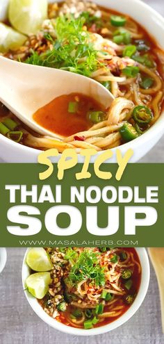 Spicy Thai Noodle Soup Recipe - healthy Thai soup with coconut milk red curry paste vegetable Thai curry soup Asian noodle soup easy Thai soup curry soup a spicy broth soup with Thai garnish Asian food recipe one-pot dinner meal meatless plant-bas Spicy Thai Noodle Soup Recipe, Simple Noodle Soup Recipe, Thai Curry Soup, Thai Noodle Soups, Pasta Al Curry, Spicy Thai Noodles, Spicy Soup, Healthy Soup Recipes, Cooking Recipes