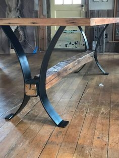 Another space-saving alternative is to buy rounded table. They can offer flexible sitting as it doesn't have limiting corners. Dining Room Table Legs, Metal Base Dining Table, Patio Table, Wood Table, Dining Tables, Live Edge Furniture, Metal Furniture, Rustic Furniture, Iron Table Legs