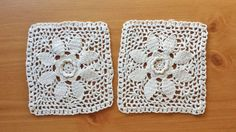 Pair of Rectangular Beige Vintage Crochet by rachaelsscraps