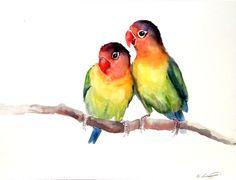 Lovebirds original watercolor painting 9X12 by ORIGINALONLY