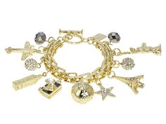 Have you seen the latest at JTV? Discover this gorgeous White Crystal Gold Tone Travel Charm Bracelet. Shop today to get a great deal! Chanel Jewelry, Necklace Types, Necklace Designs, Beaded Bracelets, Charm Bracelets, Wedding Jewelry, Charmed, Gemstones, Crystals