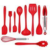#5: iLOME Silicone Spatula Utensil Set Heat-Resistant Non-Stick Cooking Baking Utensils with Hygienic Solid Coating Spatula Set 10 Pieces(Red)