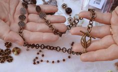 Hand made stamped bronze links on a multi-strand bronze necklace. $30.00