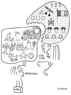 by the Italian education writer and cartoonist FRATO Reggio Emilia, How To Speak Italian, Italian Lessons, Italian Phrases, Italian Language, Learning Italian, School Life, Kids Rugs, Teaching