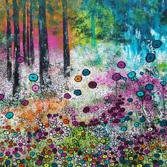 Coloured Forest, schilderij van Ans Duin | Abstract | Modern | Kunst