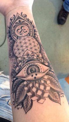 mandala, moth, skull, eye full sleeve tattoo - Google Search