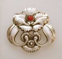 Georg Jensen orchid brooch, sterling silver with coral, design #97