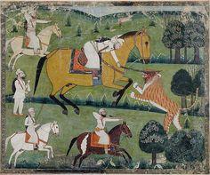 Katlar Sardar Singh kills a tiger with a sword strike, Kulu, Himachal Pradesh, India, about 1770.