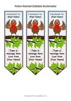 Robin-Themed Editable Bookmarks (SB11609) - SparkleBox