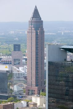 Messeturm, Frankfurt, by Helmut Jahn, - Architecture Post Modern Architecture, Frankfurt Germany, Empire State Building, San Francisco Skyline, Multi Story Building, Around The Worlds, Holidays, Buildings, Trends
