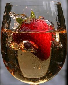 Interesting fact: strawberries are the only fruit that will not absorb any liquor you drop it in