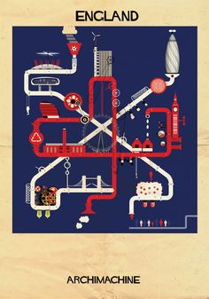 Archimachine – Illustrated Architectural Machines that Represent 17 Countries