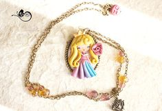 polymer clay necklace / Aurora / disney / princess / clay