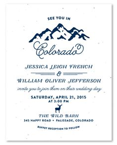Rockies Mountains Wedding Invitations on White seeded paper by ForeverFiances Weddings