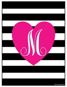 Jones Creek Creations- Monogrammed Printables (A-Z) plus cute sayings and blank design for your own customization. http://jonescreekcreations.blogspot.com/2016/01/valentines-day-2016.html
