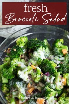 You're going to love this HEALTHY broccoli salad recipe served with a yogurt dressing that's sweetened with honey. Red onions and dried cranberries add a sweet and savory touch to an old fashioned salad you'll be making all year long. Easy Salad Recipes, Chicken Salad Recipes, Healthy Crockpot Recipes, Side Dish Recipes, Healthy Chicken, Keto Chicken, Vegan Recipes, Healthy Sides, Healthy Side Dishes