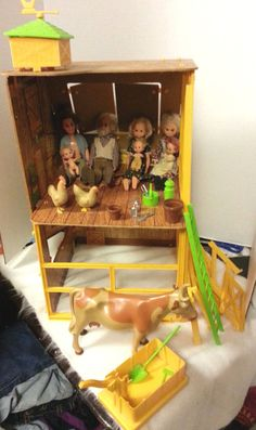 Sunshine Family Farm LOOKs 95% Complete Dolls Cow Barn #HousesFurniture