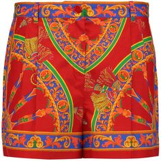 Dolce & Gabbana Printed cotton shorts (15.090 RUB) ❤ liked on Polyvore featuring shorts, red, red shorts, red cotton shorts, dolce gabbana shorts, colorful shorts and zipper shorts