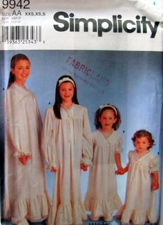 Simplicity 9942, Child's and Girls Nightgowns and Headband Sewing Pattern, Sizes 2 to 6X, Uncut by OnceUponAnHeirloom on Etsy