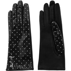 Dolce & Gabbana Polka-dot coated twill and leather gloves ($205) ❤ liked on Polyvore featuring accessories, gloves, black, black gloves, leather gloves, polka dot gloves, dolce&gabbana und dot gloves