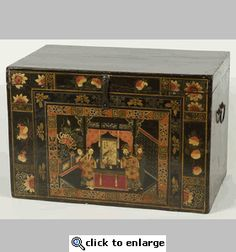Chinese black lacquered opera trunk