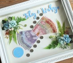 antaran Feby and Wahyu… Money Frame, Pop Up Frame, Pallet Wedding, Wedding Boxes, Wedding Crafts, Gift Packaging, Diy And Crafts, Projects To Try, Happy Birthday