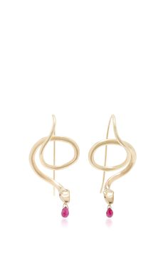Serpent Earrings with Ruby Eyes and Ruby Drops by ANNETTE FERDINANDSEN for Preorder on Moda Operandi