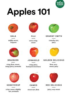 From Jonagold to Fuji, learn what each type of apple has to offer so you can pick the best variety for your next pie, applesauce or whatev. Fruit Recipes, Apple Recipes, Fall Recipes, Whole Food Recipes, Cooking Recipes, Cooking Ingredients, Whole Foods Market, Granny Smith, Recipes