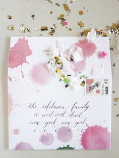 Watercolor Holiday Card Envelope - Anne Robin Calligraphy