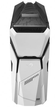The ASUS ROG has interchangeable panels, but in this black and white combo it looks like a Stormtrooper's helmet. Coffee Machine Design, Tower Speakers, Small Home Offices, Spaceship Design, Futuristic Design, Pc Cases, Colorful Wallpaper, Home Office Furniture, Pick One