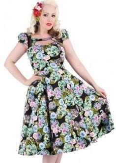 Black Marble Ball Floral Long Dress - Beserk