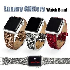 Cheap band seven, Buy Quality band watch directly from China band sign Suppliers:  Luxury Glittery Bling Christmas PU Leather Watch Band  with Connector Adapter strap for 42MM 38MM Apple Watch Band