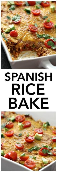 This Spanish Beef and Rice Bake is one of the best Mexican dishes. I love how easy it is to make, and how quickly it comes together. If you are looking for a fast and delicious meal, this needs to be on your menu. It is definitely picky eater approved. Rice Bake Recipes, Beef Recipes, Mexican Food Recipes, Baking Recipes, Chicken Recipes, Dinner Recipes, Dinner Ideas, Spanish Recipes, Hamburger Recipes