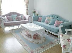 The rug! Pastel Room Decor, Pastel Living Room, Living Room Decor Cozy, Chic Living Room, Home Living Room, Living Room Designs, Bedroom Decor, Muebles Shabby Chic, Shabby Chic Decor