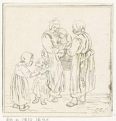 Pieter de Mare | Twee moeders met kinderen, Pieter de Mare, 1777 - 1779 | Twee moeders praten met elkaar. De een draagt een baby op de arm. Haar ander dochtertje houdt verlegen haar rokken vast. De tweede moeder overhandigt de eerste een mand. Haar dochtertje probeert contact te zoeken met haar leeftijdsgenootje.