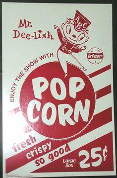 Drive In Movie Theater Snack Bar popcorn bag