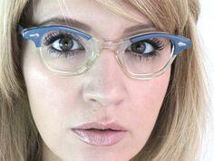 Vintage 50s Slate Blue Horn Winged Cat Eyeglasses